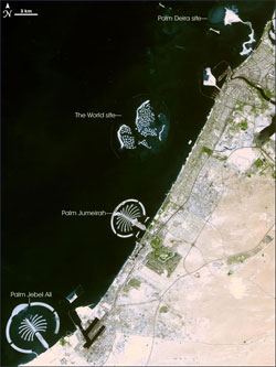 Satellite Photo Of Dubai S Artificial Islands The World And The Palms