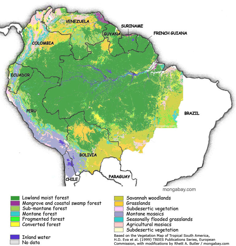 Amazon Forest Map Map of the Amazon