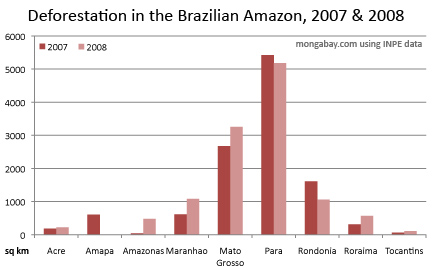 chart showing deforestation in the brazilian amazon for 2006 through 2008