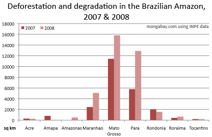 chart showing deforestation and forest degradation in the brazilian amazon for 2006 through 2008