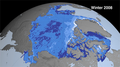 Data visualization of Arctic sea ice thickness, as measured by ICESat, shows the decline of the thickest ice (white, 4 to 5 meters thick) and increase in thinner ice (deep blue, 0 to 1 meter) from 2003 to 2008. Credit: NASA Goddard's Scientific Visualization Studio