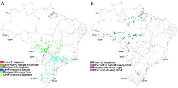 Modeled direct (A) and indirect (B) LUC caused by the fulfillment of Brazil's biofuel (sugarcane ethanol and soybean biodiesel) production targets for 2020