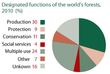Designated functions of the world's forests, 2010