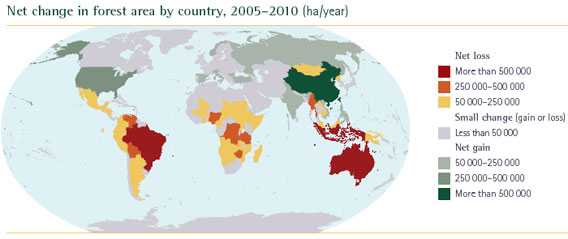 Net change in forest areas by country, 2005-2010 (hectares per year)