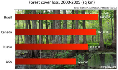 Percent forest cover loss by for major forest countries