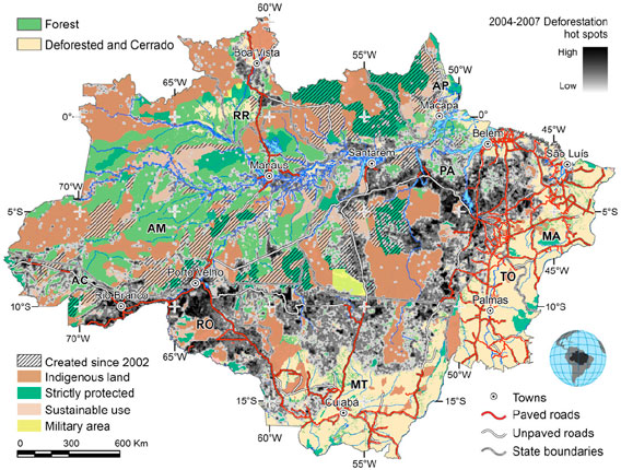 areas in Brazil contribute to major drop in Amazon deforestation rateAmazon Rainforest Map Deforestation