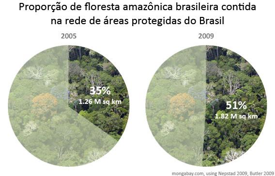 Proporção de floresta amazônica brasileira contida na rede de áreas protegidas do Brasil