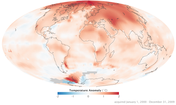 nasa's climate change map