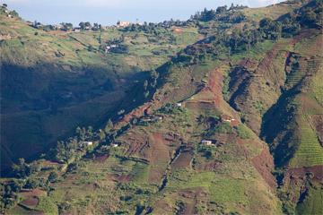 Denuded hillsides in the Massif de la Selle in Haiti