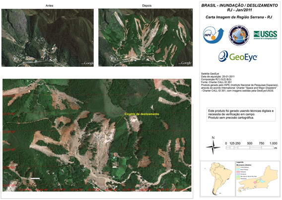 Before and after picture of a region affected by deadly land slides last month.