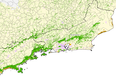INPE's mapping of the Atlantic forest or Mata Atlantica ecosystem.