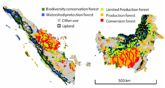 Land allocation zones (Ministry of Forestry Indonesia 2008) and upland areas for Sumatera and Kalimantan