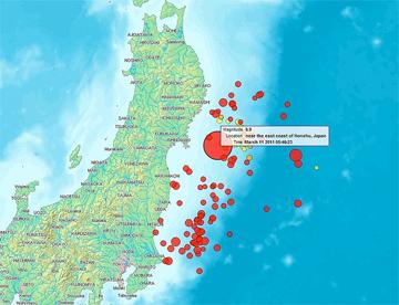 Map of the Senadai Earthquake