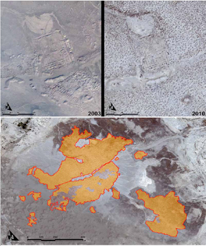 Umma, Iraq - – Massive Looting of Sumerian Cities 2003-2010. Side-by-side comparison between the years of 2003 and 2010. (DigitalGlobe and GHF)