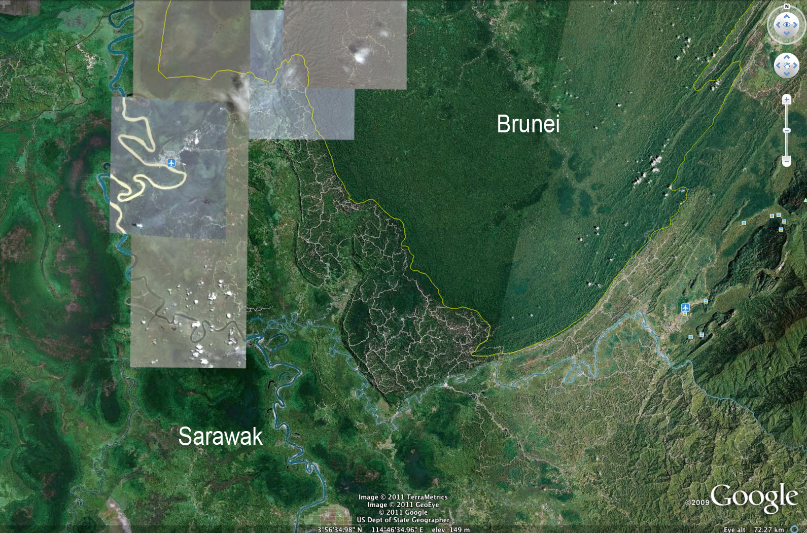 Google earth reveals stark contrast between sarawaks damaged logging roads and damaged forest in sarawak compared with the healthy forest of brunei gumiabroncs Choice Image