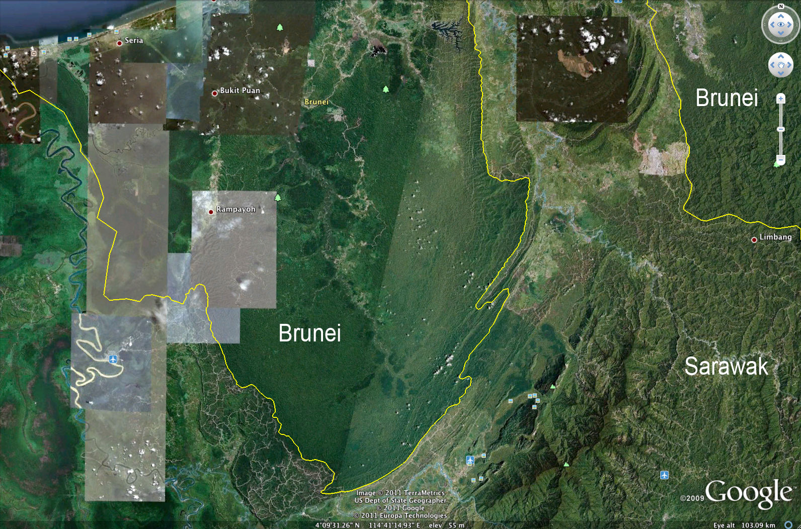 Google earth reveals stark contrast between sarawaks damaged logging roads and damaged forest in sarawak compared with healthy forest in brunei gumiabroncs Image collections