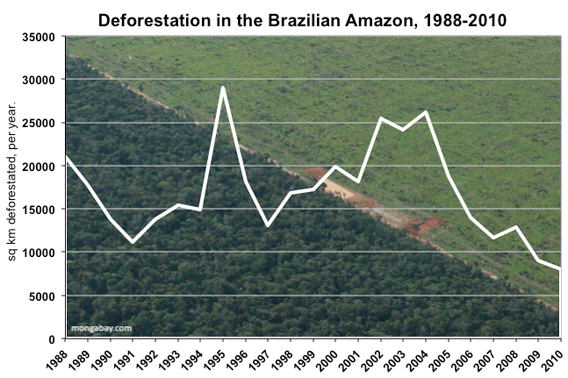 deforestation in brazil's amazon rainforest since 1988