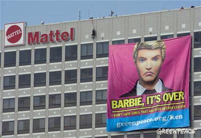 Greenpeace's stunt at Mattel's headquarters on June 8.