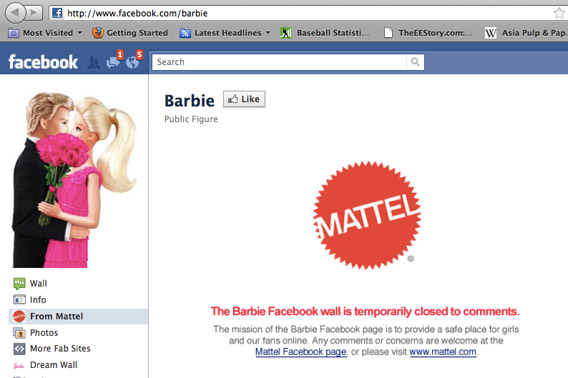 Barbie's Facebook page on June 10, 2011