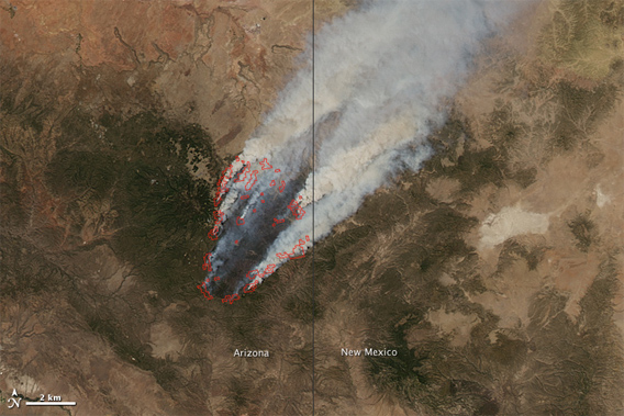 NASA picture of the Wallow Fire