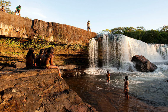 Waterfall in Kayapo territory along the Xingu river