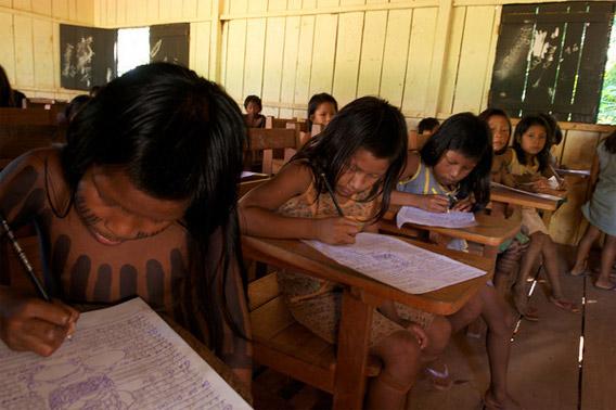 Kayapo children in school