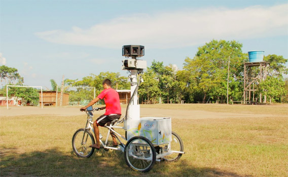 Google Street View tricycle in an Amazon village.