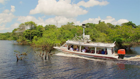 Google Street View cameras mounted on a speed boat in Brazil.