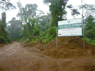 Sign advertising Herakles Farms in Cameroon.