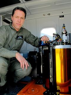 Greg Asner beside CAO's VSWIR Imaging Spectrometer.