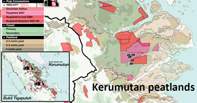 Map of APP's concessions in the Kerumutan Peat Swamp Forest