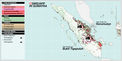 Map of APP's concessions in Sumatra