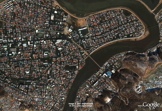 Central Ishinomaki GeoEye after tsunami damage