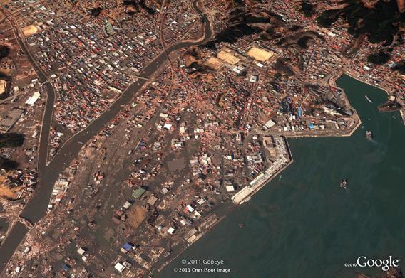 Kesennuma after the March 11, 2011 Sendai earthquake and tsunami