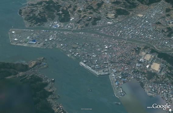 Kesennuma from north after the March 11, 2011 Sendai earthquake and tsunami