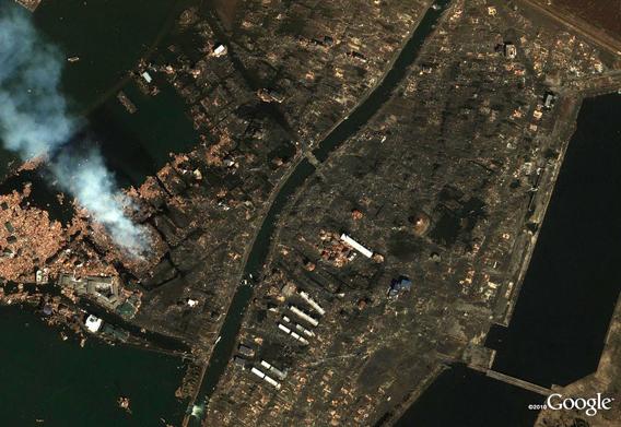 Sendai Yuriage neighborhood detail after the March 11, 2011 Sendai earthquake and tsunami