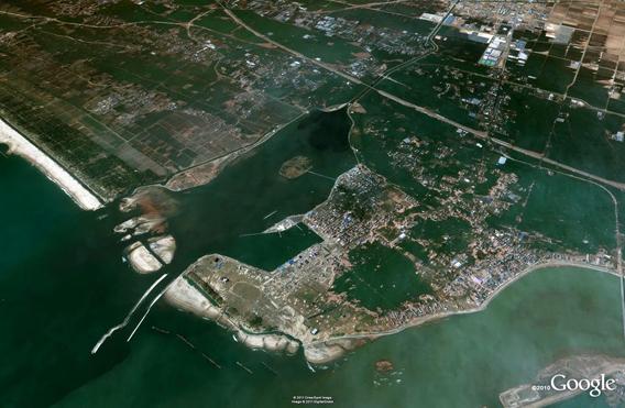 Watari Lake Torinoumi after the March 11, 2011 Sendai earthquake and tsunami