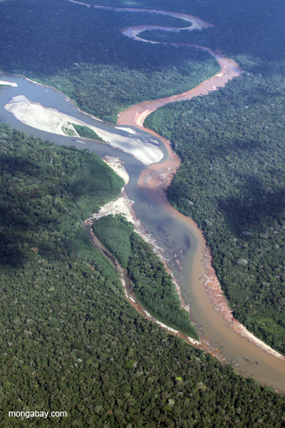 Muddy toxin-laden river that drains the Río Huaypetue gold mine joining a clearwater river in the Peruvian Amazon.
