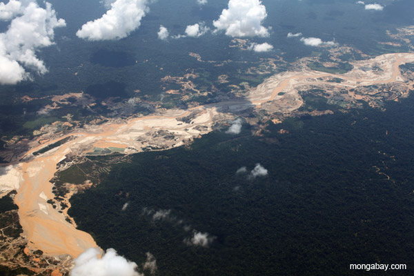 Alluvial gold mining in Peru. Guacamayo or Lamal gold mine.