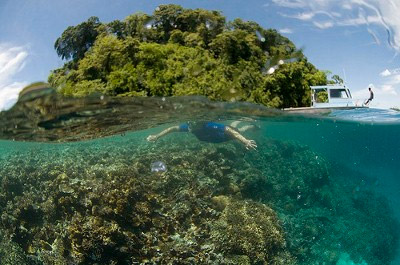 Margaret Southern snorkeling in Papua New Guinea