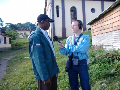 David Baron conducting an interview in Equatorial Guinea.