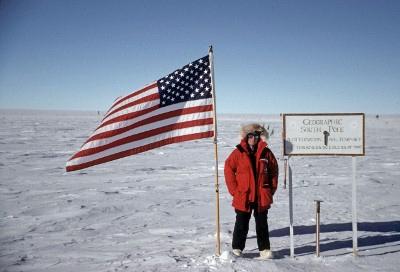 David Baron at the South Pole, Antarctica.