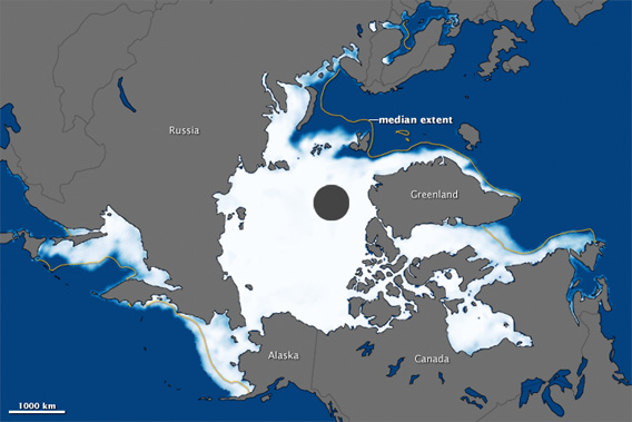 The map above was made from observations by the Special Sensor Microwave Imager/Sounder (SSMIS). Centered on the North Pole, the image shows sea ice concentration on March 18, with white indicating the greatest concentration and blue indicating open water. The median extent for maximum sea ice appears as a dull yellow line. The black circle is where the sensor recorded no data..