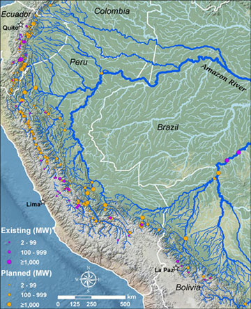 Map of dams in the Amazon
