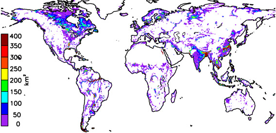 Extent of global wetlands