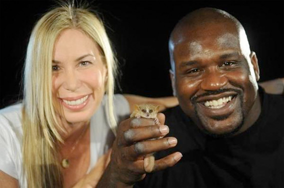 Shaq with Mireya Mayor and a mouse lemur.