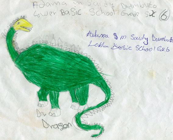Dragon drawings: Adama M Saidy, Grade 6, Dumbuto Lower Basic School, The Gambia
