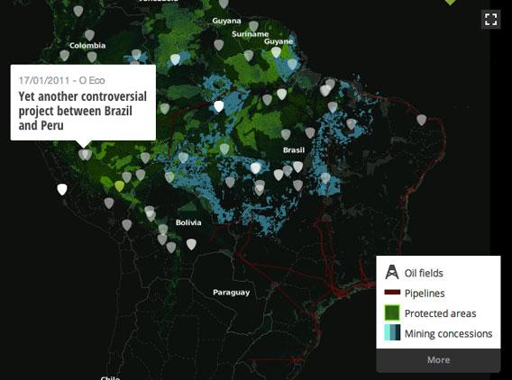 Oil development map in the Amazon basin