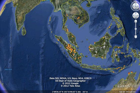 Fires in Sumatra detected by NASA's MODIS sensor