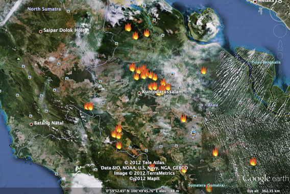 Fires in Sumatra detected by NASA satellites